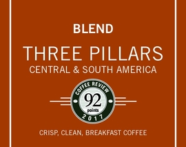 Card image three pillars blend coffee