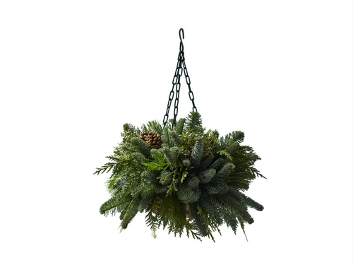 Mixed Greens Wire Hanging Basket
