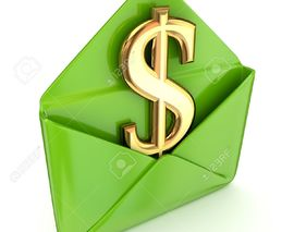 Card image 14379949 dollar sign in a green envelope  stock photo cash money delivery