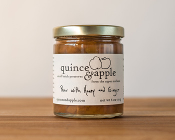 Market card pear with honey and ginger preserves