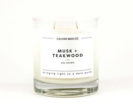 Card image musk teakwood soy candle in a glass tumbler calyan wax co 1296x